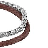 BOSS Brown Leather & Steel Double Wrap Bracelet