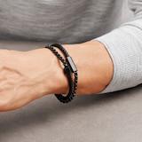 BOSS Black Leather & Steel Double Wrap Bracelet