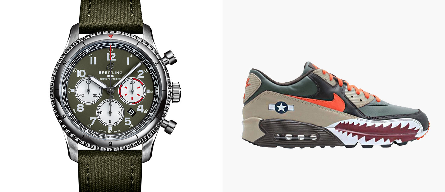 The Breitling Aviator 8 B01 Chronograph 43 Curtiss Warhawk paired with Nike Air Max Warhawk 90