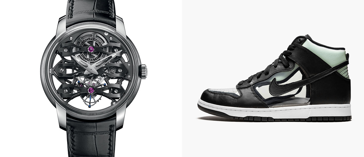 Girard-Perregaux Neo-Tourbillon with Three Bridges Skeleton paired with COMME des GARCONS x Nike Dunk High Clear