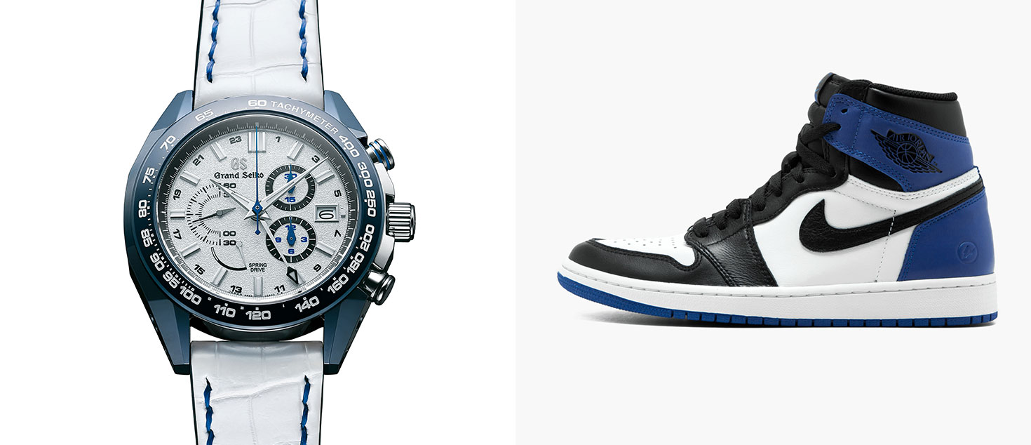 Grand Seiko Spring Drive 20th & Nissan GT-R 50th Anniversary Limited Edition paired with Fragment Design x Nike Air Jordan 1