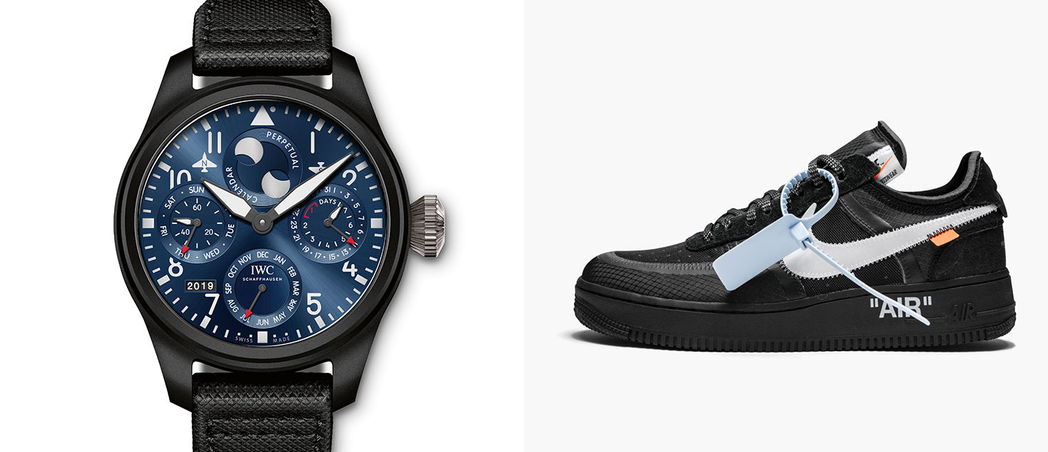 """IWC Big Pilot's Watch Perpetual Calendar Edition """"Rodeo Drive"""" Timepiece paired with Off-White™ x Nike Air Force 1 Low Black"""