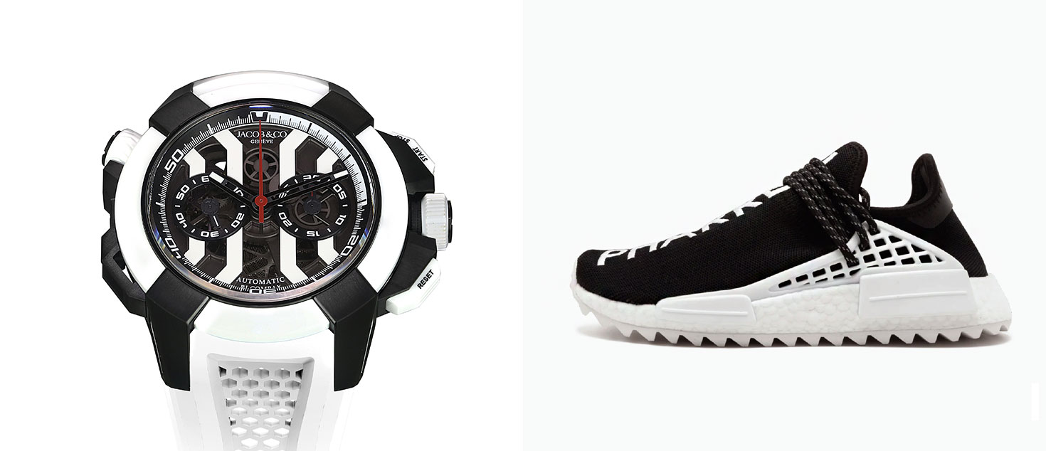 Jacob & Co. Epic x Chrono HYPEBEAST Edition paired with Chanel x adidas Originals Pharrell Williams Hu NMD