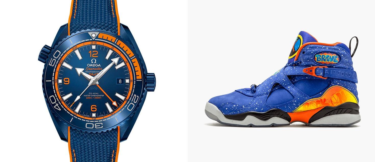 OMEGA Seamaster Planet Ocean Big Blue paired with Doernbecher x Nike Air Jordan 8 Retro