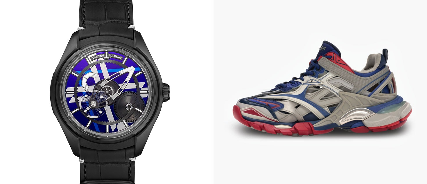 Ulysse Nardin Freak X Black Marquetry paired with Balenciaga Track.2