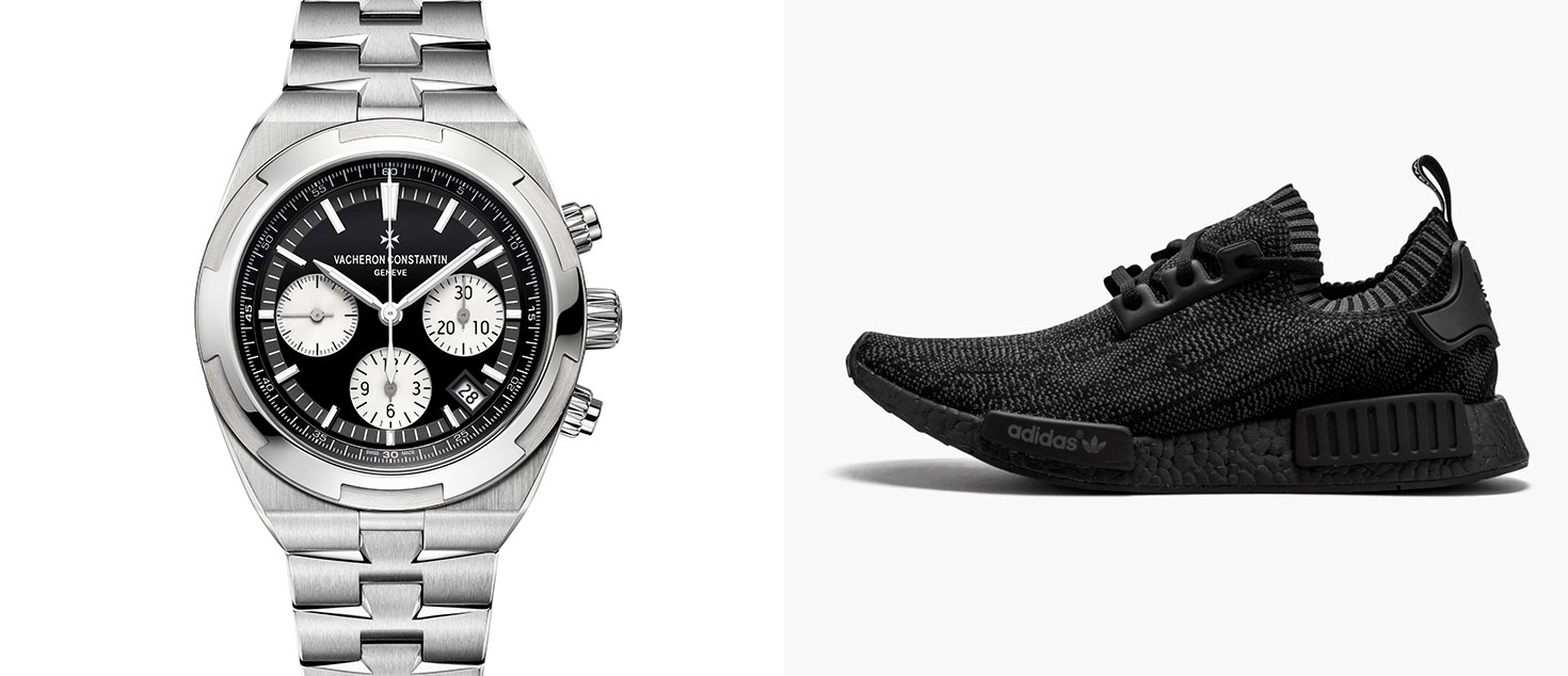 Vacheron Constantin Overseas Chronograph, Black Dial paired with adidas NMD Pitch Black